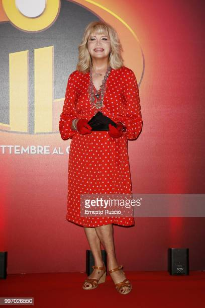 Amanda Lear attends the 'Gli Incredibili 2' photocall at Hotel De Russie on July 12 2018 in Rome Italy