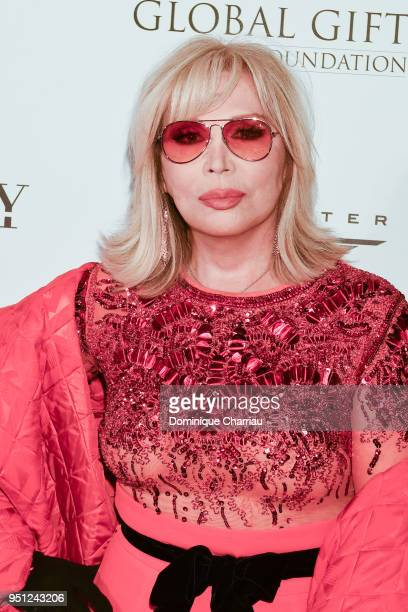 Amanda Lear attends the Global Gift Gala photocall at Four Seasons Hotel George V on April 25 2018 in Paris France