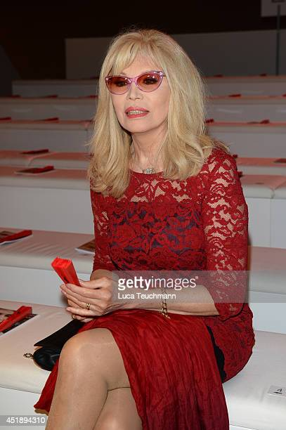 Amanda Lear attends the Minx by Eva Lutz show during the MercedesBenz Fashion Week Spring/Summer 2015 at Erika Hess Eisstadion on July 9 2014 in...