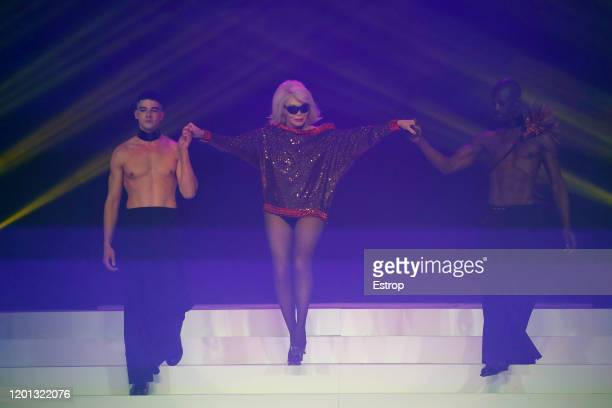 Amanda Lear during the JeanPaul Gaultier Haute Couture Spring/Summer 2020 show as part of Paris Fashion Week at Theatre Du Chatelet on January 22...