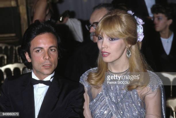 Amanda Lear et Alain-Philippe Malagnac lors d'une soirée, circa 1970, en France.