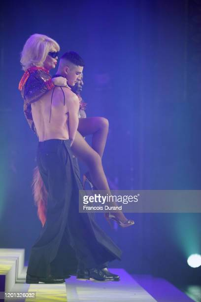 Amanda Lear is carried on the runway at the JeanPaul Gaultier 50th Birthday show at Theatre du Chatelet on January 22 2020 in Paris France