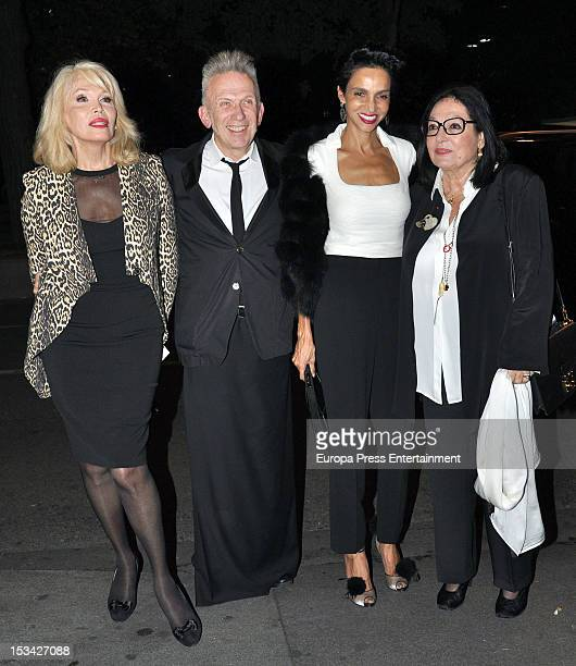 Amanda Lear Jean Paul Gaultier Farida Khelfa and Nana Mouskouri attend the first International retrospective of the French designer at the Mapfre...