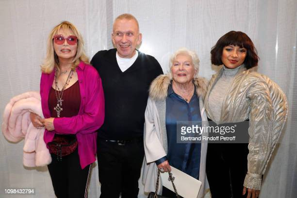 Amanda Lear Stylist JeanPaul Gaultier Line Renaud and actress Katerina 'Kat' Graham pose after the JeanPaul Gaultier Haute Couture Spring Summer 2019...