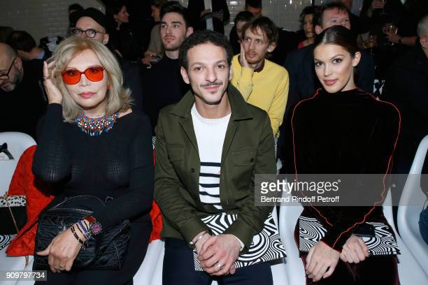 Amanda Lear Vincent Dedienne and Miss France 2016 and Miss Univers 2016 Iris Mittenaere attend the JeanPaul Gaultier Haute Couture Spring Summer 2018...