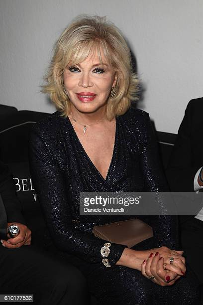 Amanda Lear walks the red carpet of amfAR Milano 2016 at La Permanente on September 24 2016 in Milan Italy