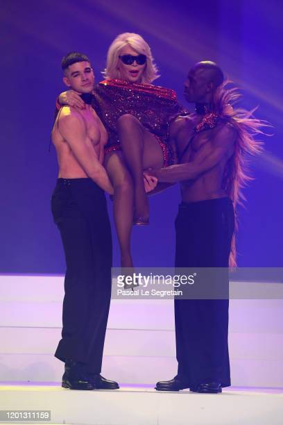 Amanda Lear walks the runway during the Jean-Paul Gaultier Haute Couture Spring/Summer 2020 show as part of Paris Fashion Week at Theatre Du Chatelet...