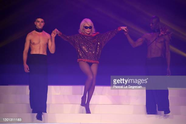 Amanda Lear walks the runway during the JeanPaul Gaultier Haute Couture Spring/Summer 2020 show as part of Paris Fashion Week at Theatre Du Chatelet...