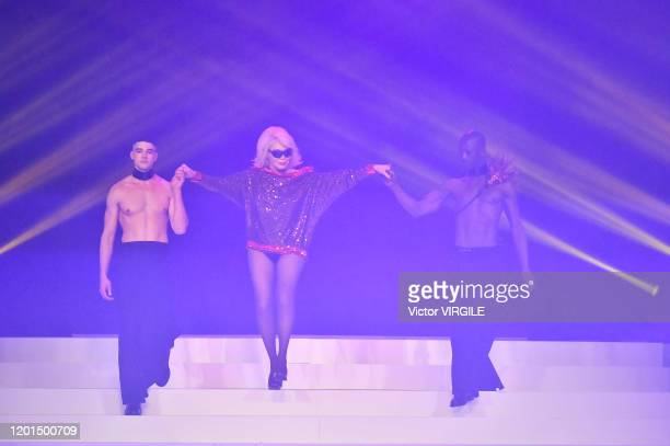 Amanda Lear walks the runway during the JeanPaul Gaultier Haute Couture Spring/Summer 2020 fashion show as part of Paris Fashion Week at Theatre Du...