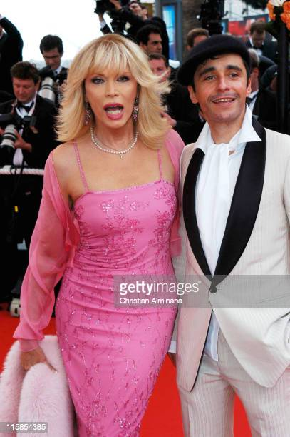 Amanda Lear with boyfriend during 2004 Cannes Film Festival 'The Bad Education' Opening Night Premiere at Palais Du Festival in Cannes France