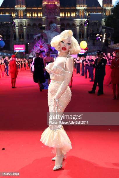 Amanda Lepore arrives for the Life Ball 2017 at City Hall on June 10 2017 in Vienna Austria