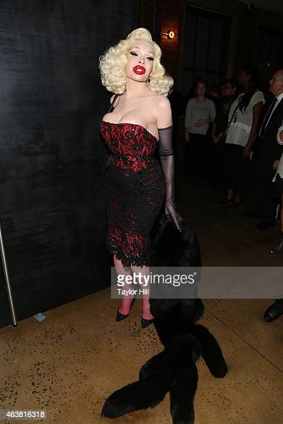 Amanda Lepore attends The Blonds fall 2015 fashion show during Fall 2015 MercedesBenz Fashion Week at Milk Studios on February 18 2015 in New York...
