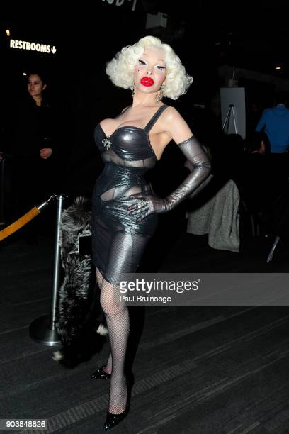Amanda Lepore attends The Cinema Society Bluemercury host the premiere of IFC Films' 'Freak Show' at Landmark Sunshine Cinema on January 10 2018 in...