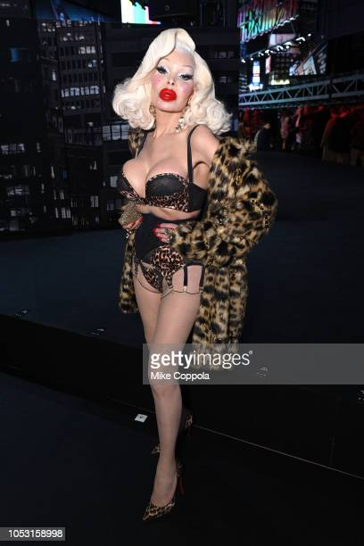 Amanda Lepore attends the Moschino x HM Front Row at Pier 36 on October 24 2018 in New York City
