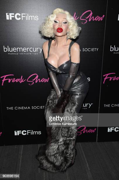 Amanda Lepore attends the premiere of IFC Films' Freak Show hosted by The Cinema Society at Landmark Sunshine Cinema on January 10 2018 in New York...