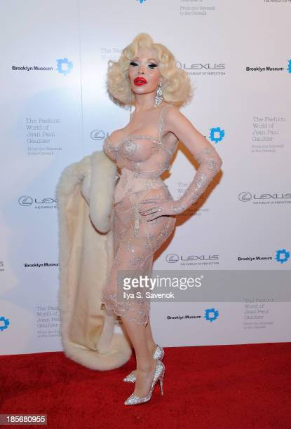 Amanda Lepore attends the VIP reception and viewing for The Fashion World of Jean Paul Gaultier From the Sidewalk to the Catwalk at the Brooklyn...