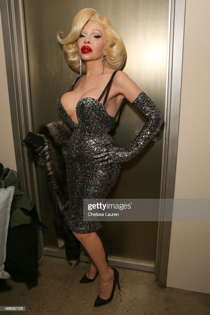Amanda Lepore backstage at the The Blonds fashion show during MADE Fashion Week Fall 2014 at Milk Studios on February 12, 2014 in New York City.