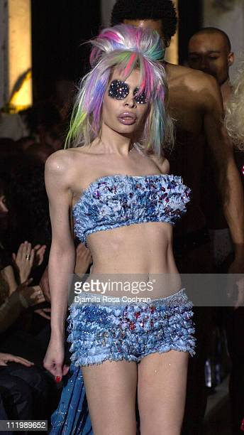 Amanda Lepore in Heatherette Fall 2003 during MercedesBenz Fashion Week Fall 2003 Collections Heatherette Runway at 250 Hudson Street in New York NY...