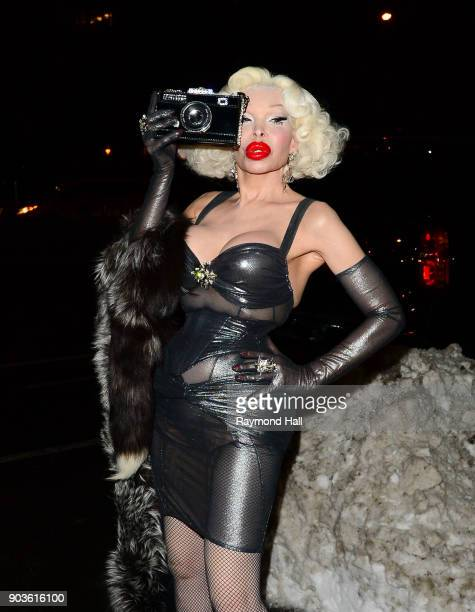 Amanda Lepore is seen in Soho on January 10 2018 in New York City