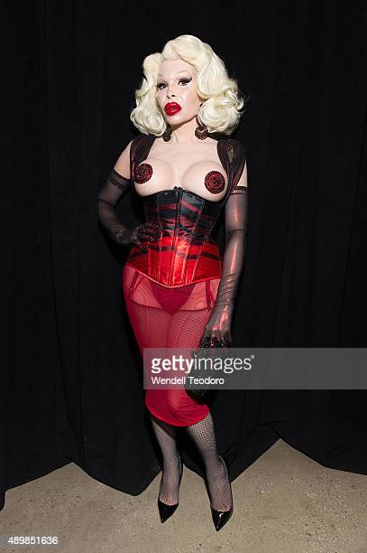 Amanda Lepore poses backstage before The Blondes show at Milk Studios as part of the 'NYFW The Shows' Spring 2016 New York Fashion Week on September...