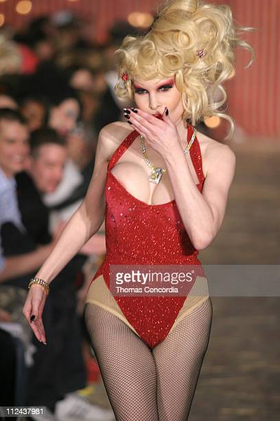 Amanda Lepore wearing Heatherette Fall 2004 during Olympus Fashion Week Fall 2004 Heatherette Runway at Mao Space at Atlas in New York City New York...