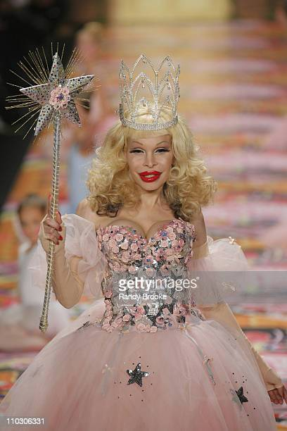 Amanda Lepore wearing Heatherette Fall 2007 during Mercedes Benz Fashion Week Fall 2007 Heatherette Runway at The Tent Bryant Park in New York City...