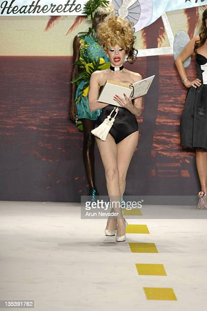 Amanda Lepore wearing Heatherette Spring 2007 during Olympus Fashion Week Spring 2007 Heatherette Runway at The Tent Bryant Park in New York City New...