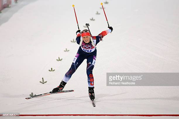 Amanda Lightfoot of Great Britain approaches the finish line in the Women's 75 km Sprint during day two of the Sochi 2014 Winter Olympics at Laura...