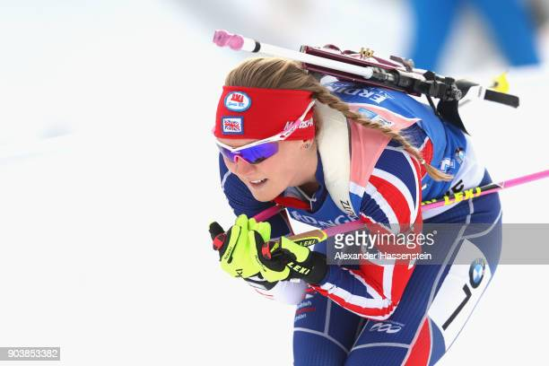 Amanda Lightfoot of Great Britain competes at the women's 15km individual competition during the IBU Biathlon World Cup at Chiemgau Arena on January...