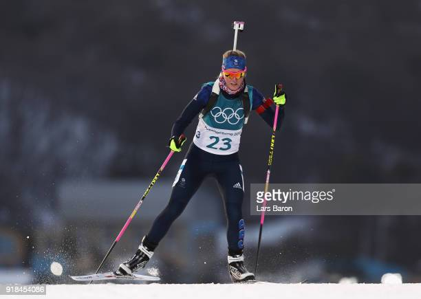 Amanda Lightfoot of Great Britain competes during the Women's 15km Individual Biathlon at Alpensia Biathlon Centre on February 15 2018 in...