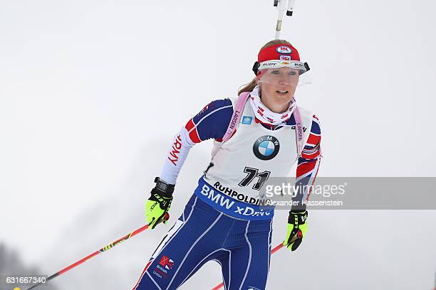 Amanda Lightfoot of Great Britain competes in the 75 km Women's Sprint during the IBU Biathlon World Cup at Chiemgau Arena on January 14 2017 in...