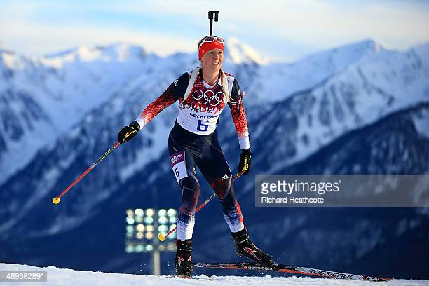 Amanda Lightfoot of Great Britain competes in the Women's 15 km Individual during day seven of the Sochi 2014 Winter Olympics at Laura Crosscountry...