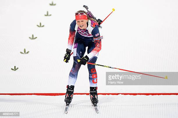 Amanda Lightfoot of Great Britain crosses the finish line in the Women's 15 km Individual during day seven of the Sochi 2014 Winter Olympics at Laura...