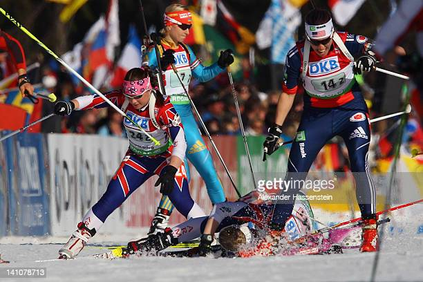 Amanda Lightfoot of Great Britain falls during her hand over to her team mate Nerys Jones during the Women's 4 x 6km Relay during the IBU Biathlon...