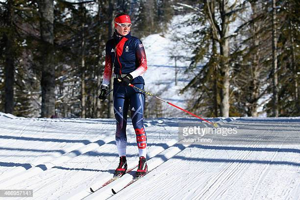 Amanda Lightfoot of Great Britain practices ahead of the Sochi 2014 Winter Olympics at the Laura CrossCountry Ski and Biathlon Center on February 5...