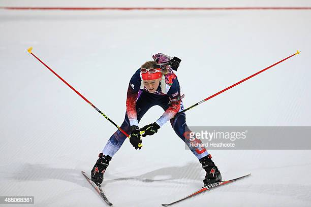 Amanda Lightfoot of Great Britain reacts after crossing the finish line in the Women's 75 km Sprint during day two of the Sochi 2014 Winter Olympics...