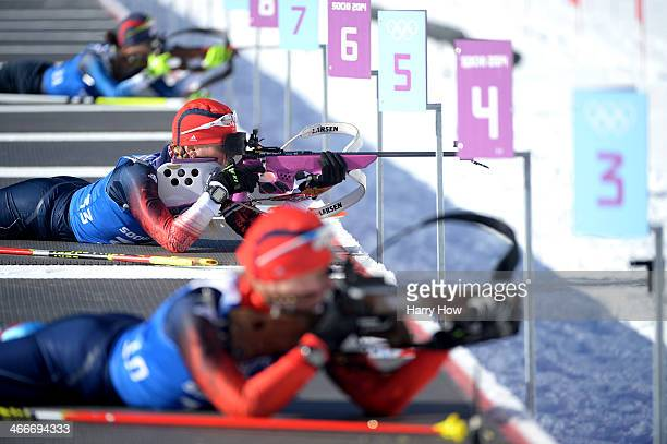 Amanda Lightfoot of Great Britain shoots during a Biathlon training session ahead of the Sochi 2014 Winter Olympics at Laura CrossCountry Ski and...