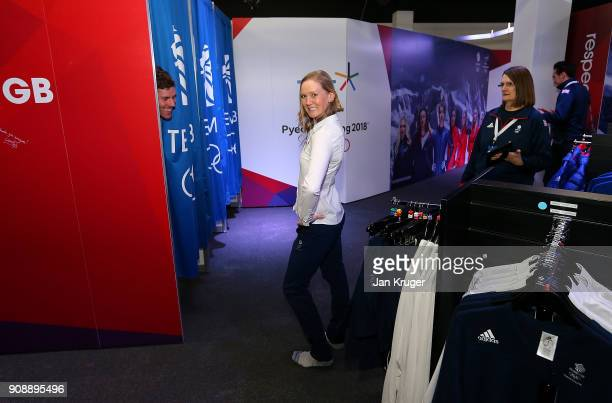 Amanda Lightfoot tries on her uniform during the Team GB Kitting Out Ahead Of Pyeongchang 2018 Winter Olympic Games on January 22 2018 in Stockport...