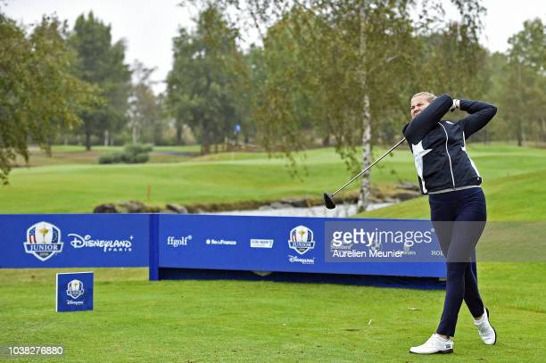 Amanda Linner of Europe swings during a training session prior to the Junior Ryder Cup at Disneyland Paris on September 23 2018 in Paris France