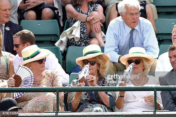 Amanda Macmanus Annabel Elliot and Camilla Duchess of Cornwall attend the Robin Hasse v Andy Murray match on day four of the Wimbledon Tennis...