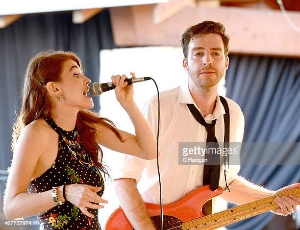 Amanda 'Mandy' Lee Duffy and Bass guitarist William Hehir of Misterwives perform during the opening reception of The 2015 Live in the Vineyard Music...