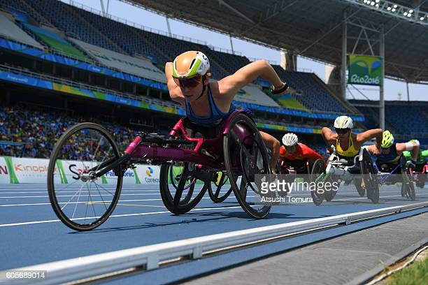 Amanda McGrory of the United States competes in the Women's 5000m T54 Heat on day 7 of the Rio 2016 Paralympic Games at the Olympic Stadium on...