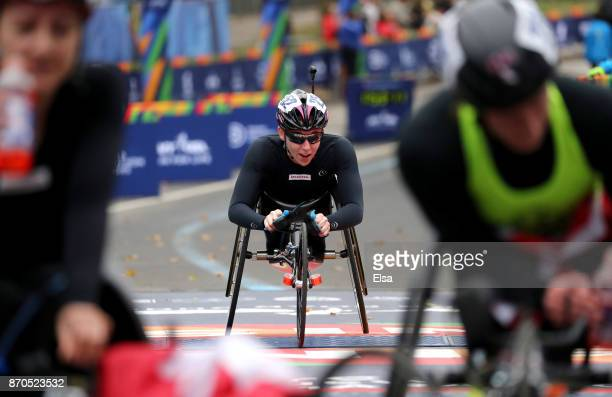 Amanda McGrory of the United States crosses the finish line in 3rd place of the Professional Women's Wheelchair Division during the 2017 TCS New York...