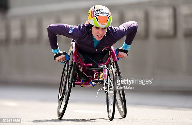 Amanda McGrory of the USA competes in the Women's Wheelchair Race during the Virgin Money London Marathon on April 24 2016 in London England