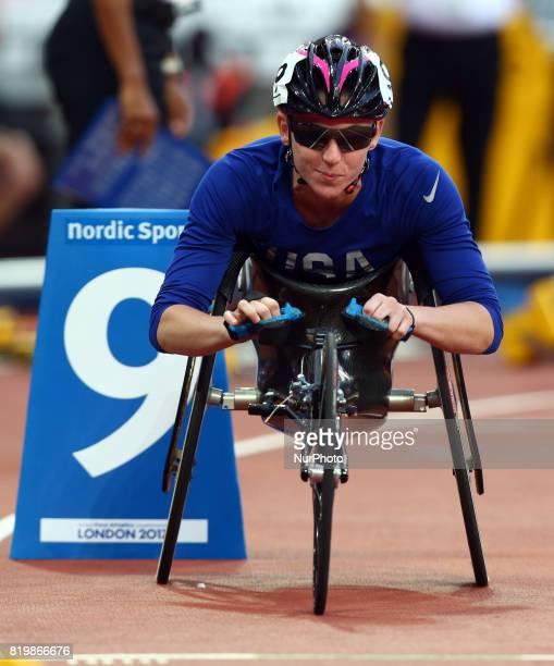 Amanda McGrory of USA compete Women's 800m F54 Final during World Para Athletics Championships at London Stadium in London on July 19 2017