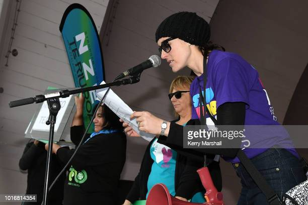 Amanda McLean leads teachers in protest on August 15 2018 in Napier New Zealand New Zealand primary school teachers and principals voted to go on...