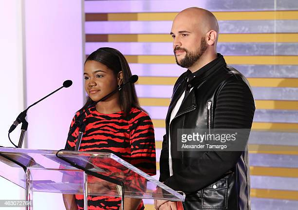 Amanda Mena and Aaron Emmanuel attend Billboard Latin 2015 nominess press conference on February 9 2015 in Doral Florida