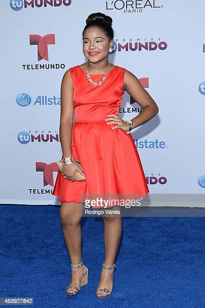 Amanda Mena arrives at Premios Tu Mundo Awards at American Airlines Arena on August 21 2014 in Miami Florida