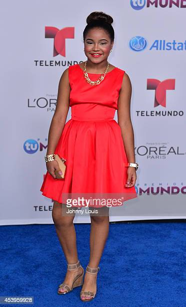 Amanda Mena arrives at Telemundo's Premios Tu Mundo Awards 2014 at American Airlines Arena on August 21 2014 in Miami Florida