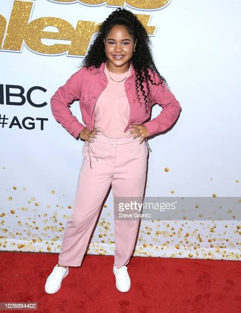Amanda Mena arrives at the 'America's Got Talent' Season 13 Live Show Red Carpet at Dolby Theatre on September 4 2018 in Hollywood California